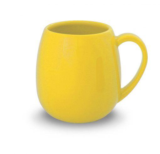 geltonas keramikinis puodelis