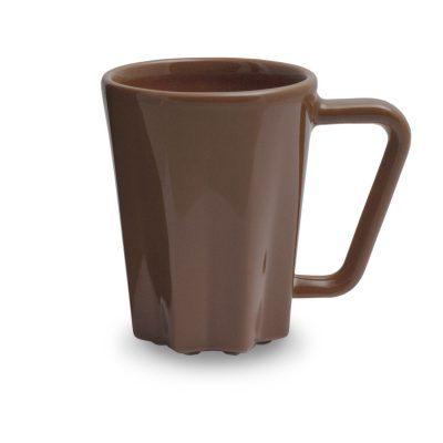 rudas keramikinis puodelis