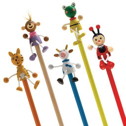 Medinis pieštukas su žaisliuku